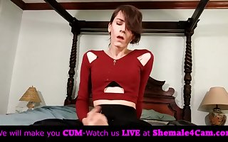 Shemale self facial on live cam!