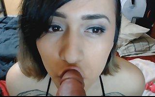 Cute trap sucking fake penis