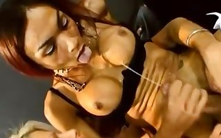 Hot shemale self facial while riding big cock
